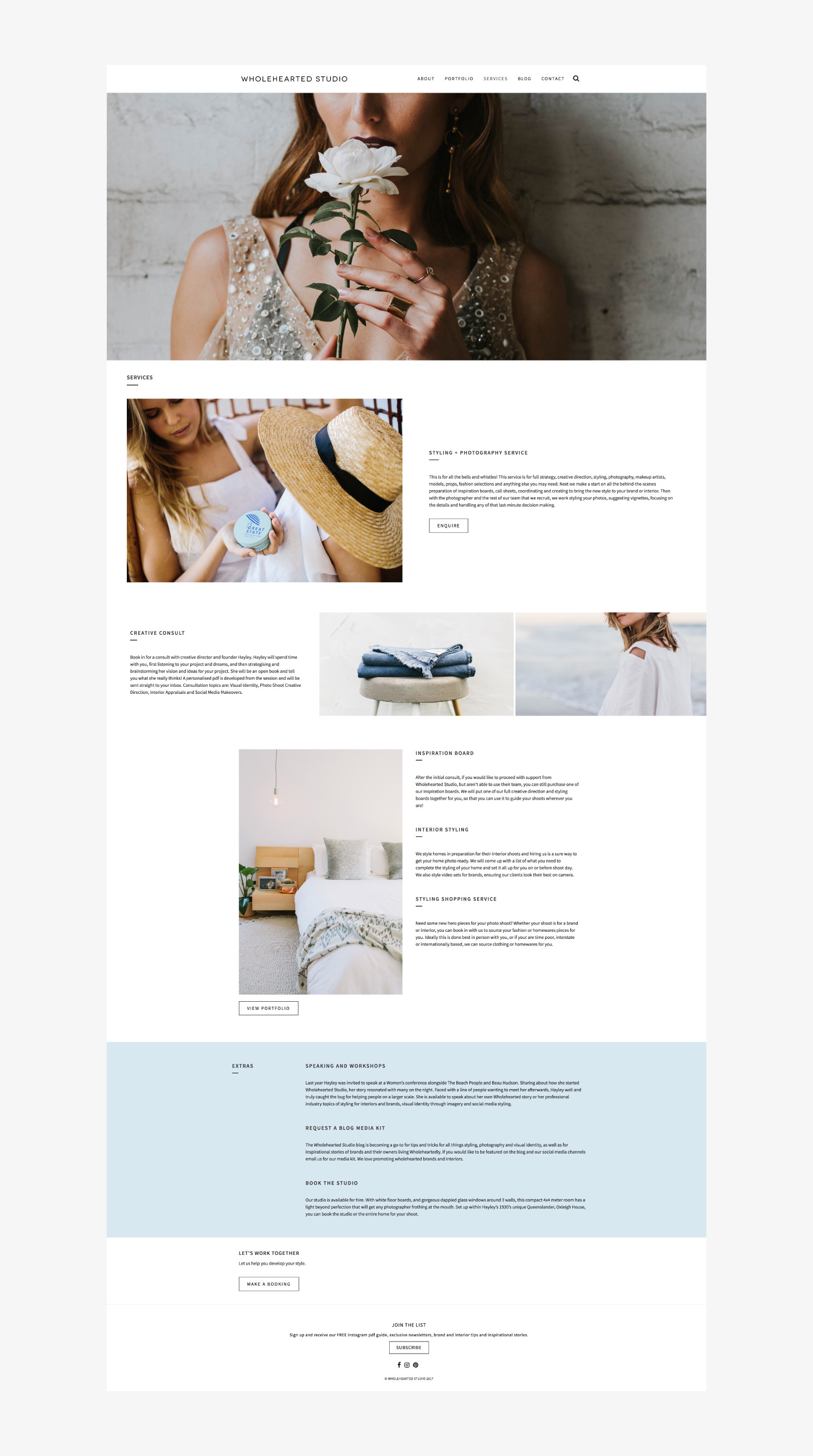 Wholehearted Studio Website Design