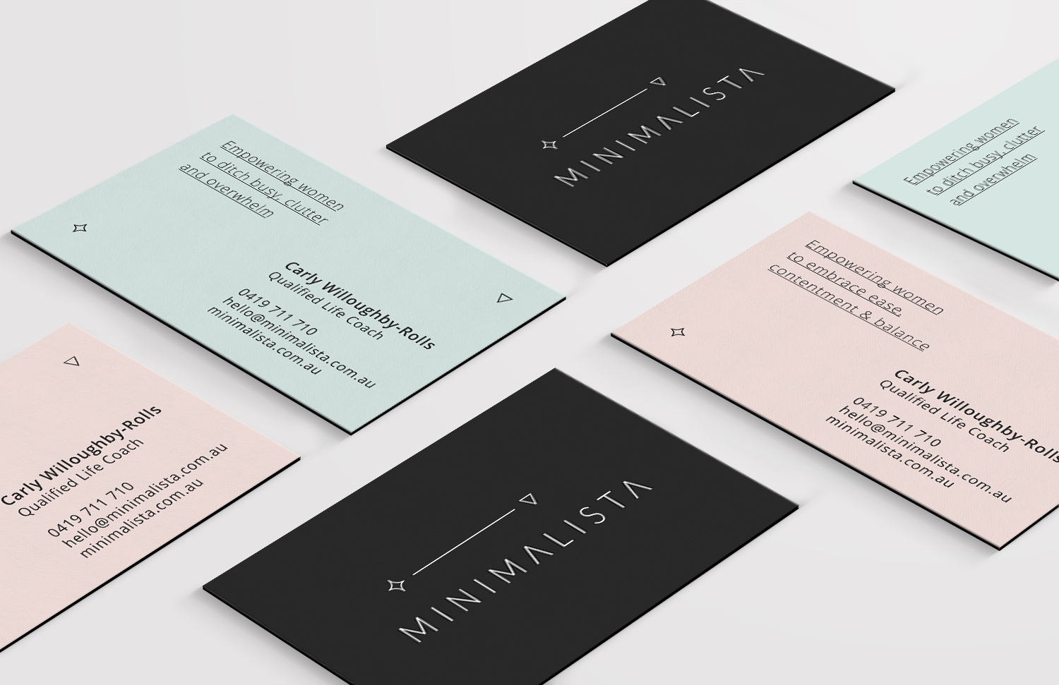 Minimalista's business card design featuring charcoal and pastels