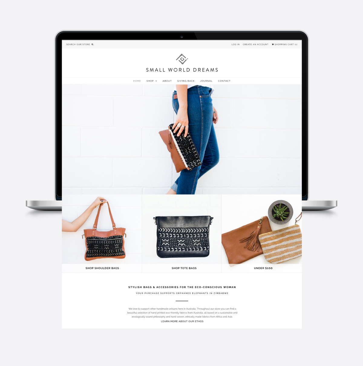 Ecommerce website homepage design for Small World Dreams