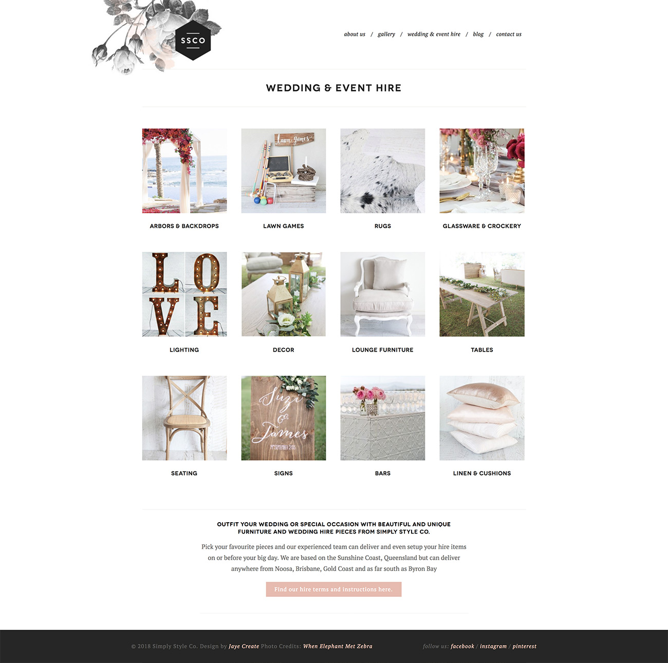 Simply Style Co Sunshine Coast, Website design for hire page