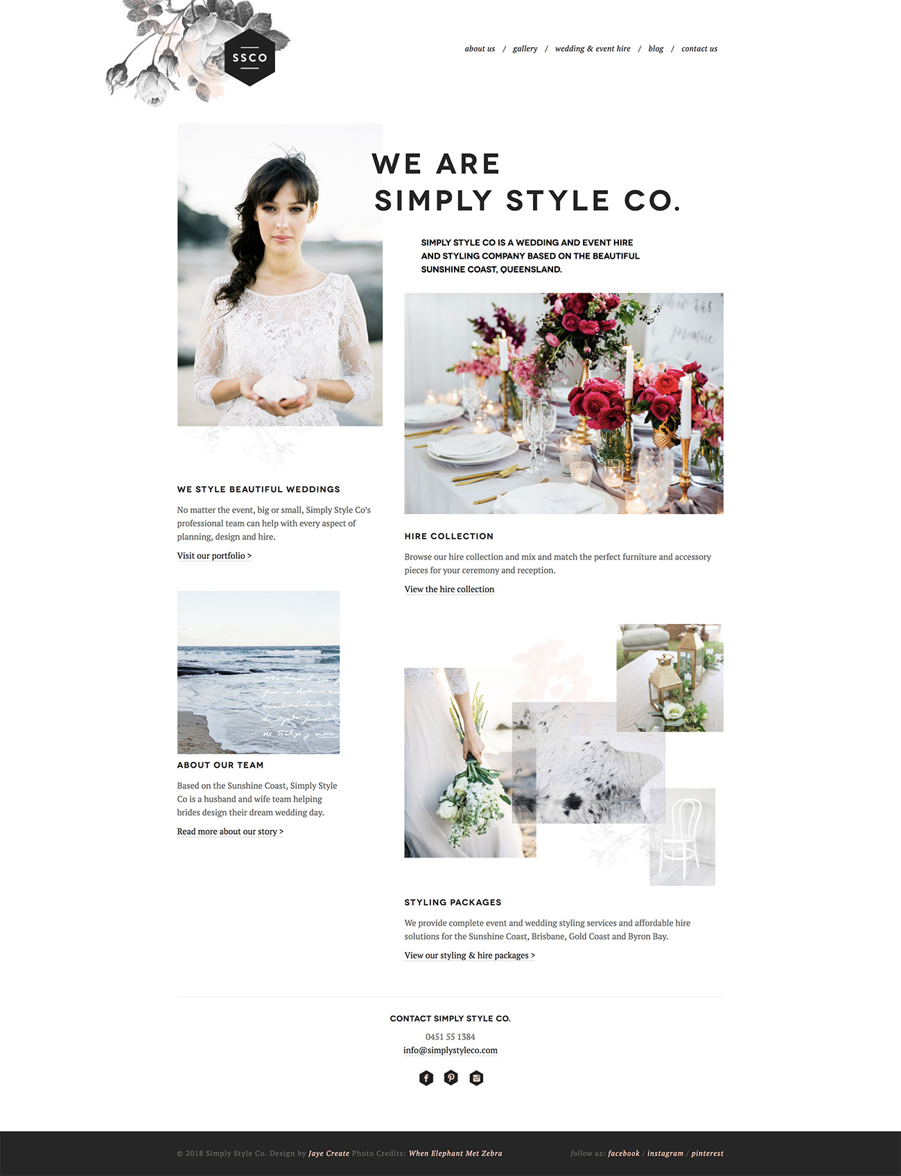 Simply Style Co Website homepage design