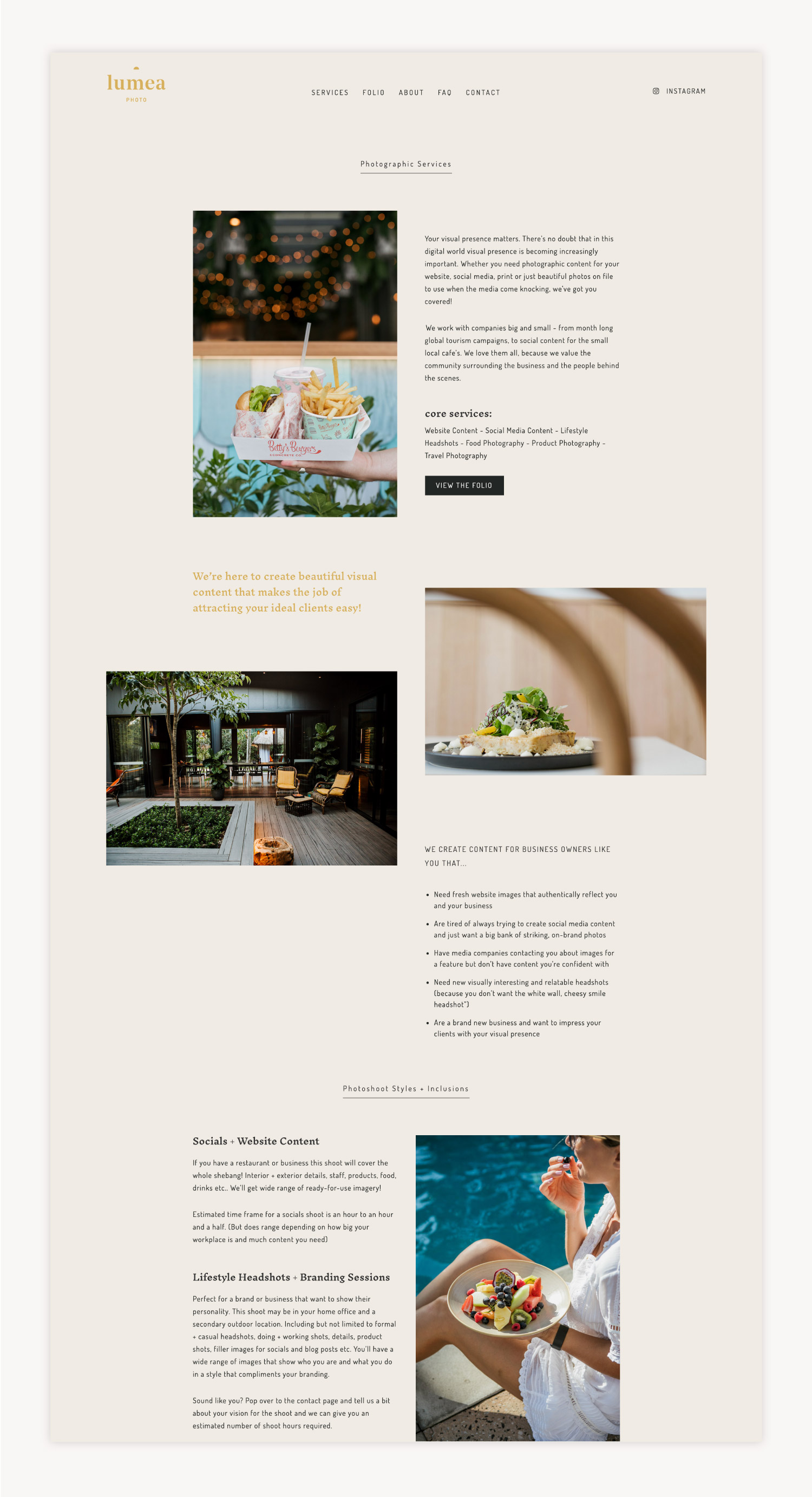 Services page website design for Lumea Photo by Now or Never Design