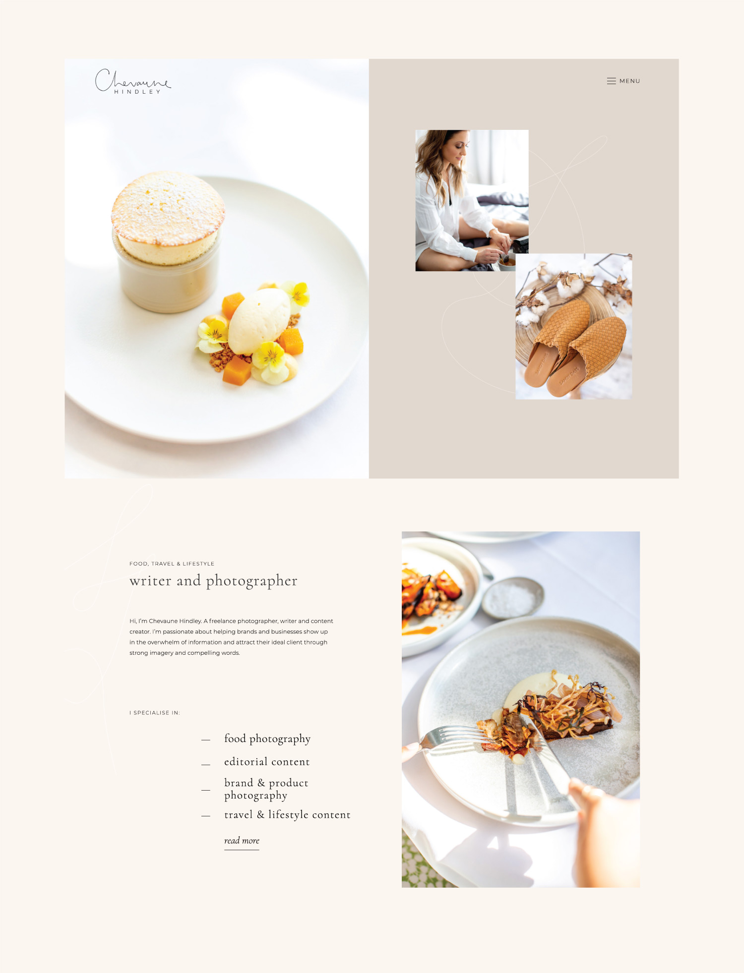 Website home page design for Chevaune Hindley