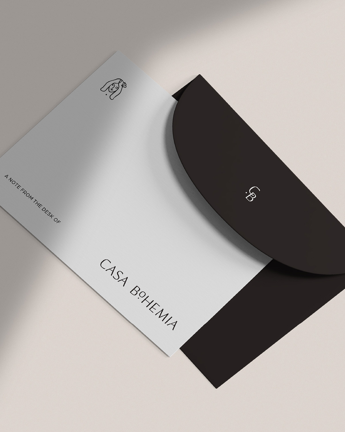 Black and white note card and envelope designed for Casa Bohemia