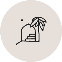 Casa Bohemia palm tree, arch and stairs illustration